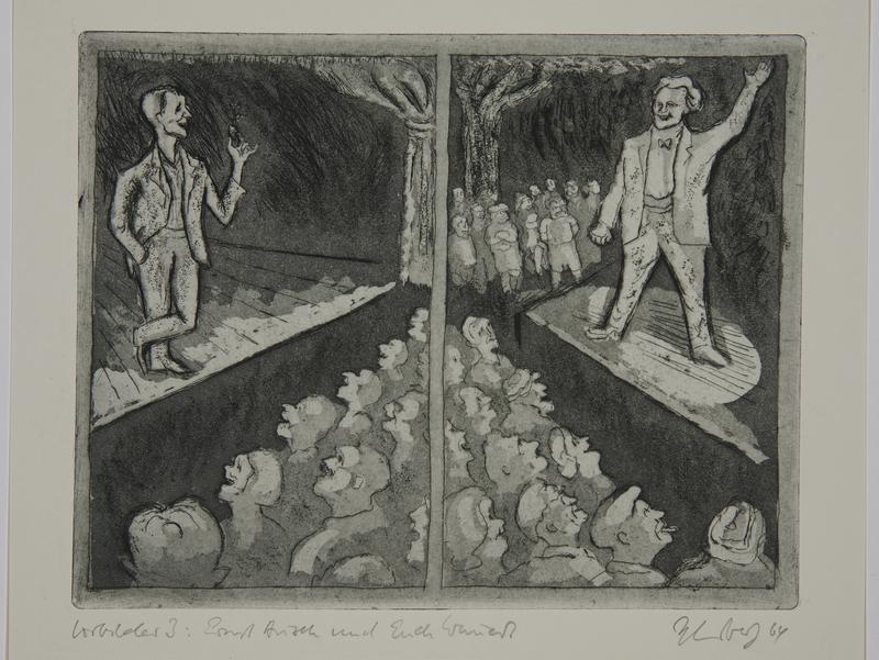 1988.12.25 front Plate 25, Herbert Sandberg series, Der Weg: two men performing on separate stages