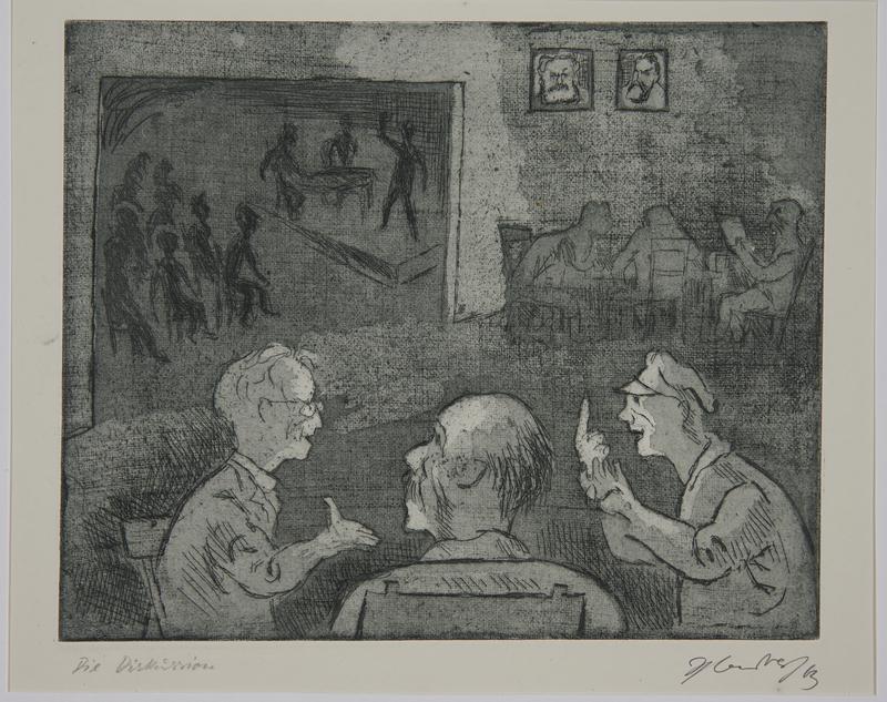 1988.12.27 front Plate 27, Herbert Sandberg series, Der Weg: men conversing in a social hall with a stage