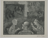 1988.12.27 front Plate 27, Herbert Sandberg series, Der Weg: men conversing in a social hall with a stage  Click to enlarge