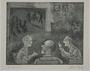 Plate 27, Herbert Sandberg series, Der Weg: men conversing in a social hall with a stage