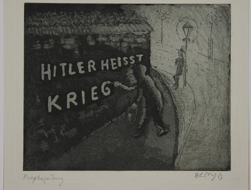 1988.12.29 front Plate 29, Herbert Sandberg series, Der Weg: a man painting Anti-Nazi graffitti