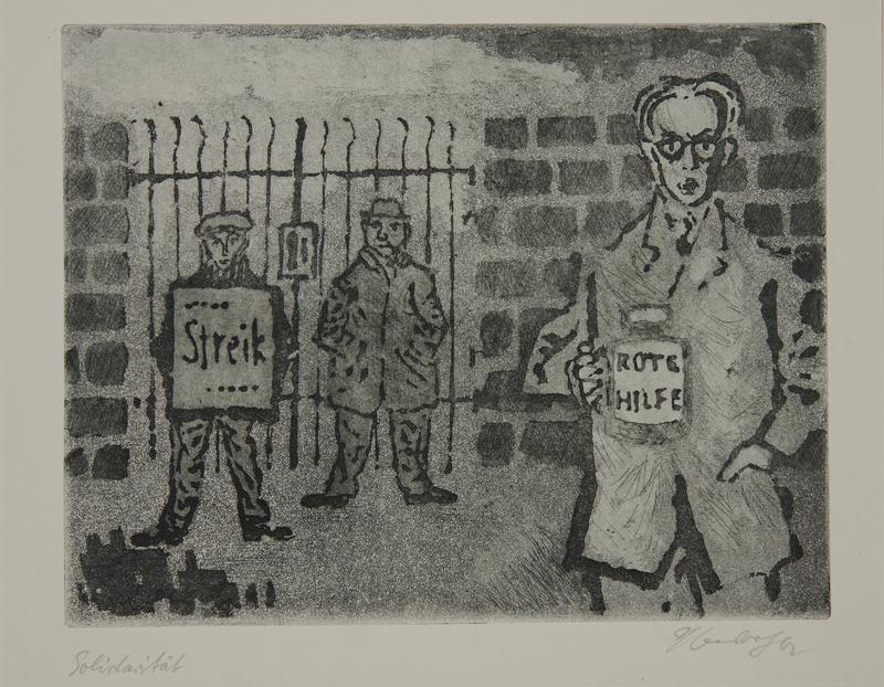1988.12.30 front Plate 30, Herbert Sandberg series, Der Weg: man with a Red Aid jar at a factory strike