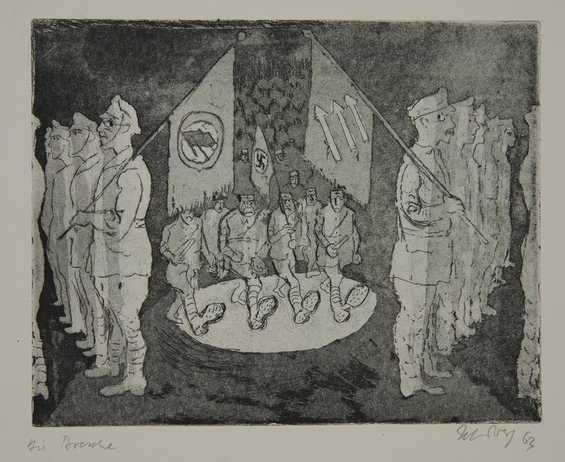 1988.12.34 front Plate 34, Herbert Sandberg series, Der Weg: scene ca. fall 1932 of the Nazis moving past political rivals