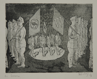 1988.12.34 front Plate 34, Herbert Sandberg series, Der Weg: scene ca. fall 1932 of the Nazis moving past political rivals  Click to enlarge
