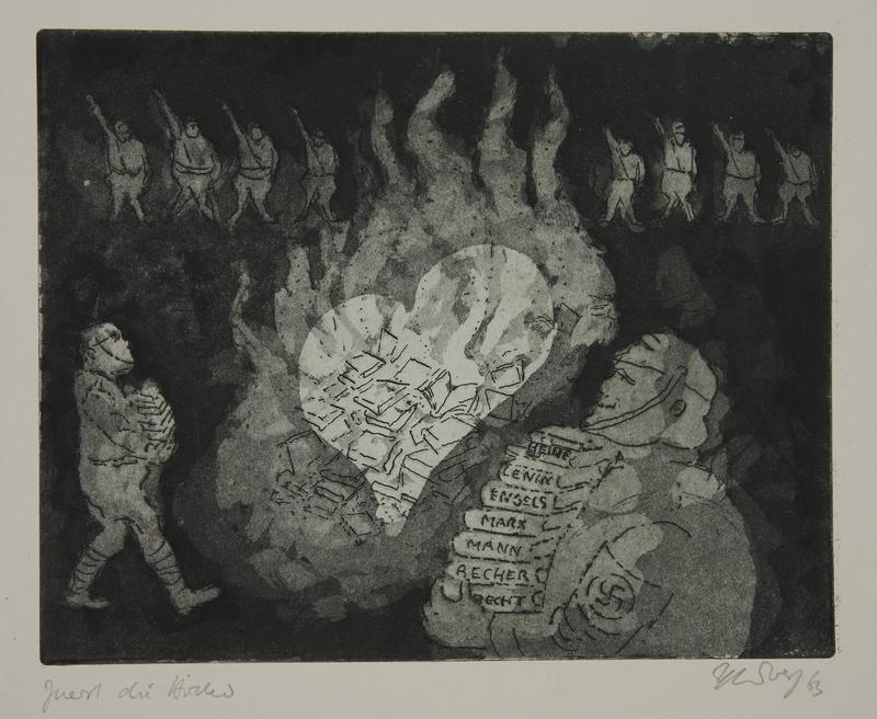 1988.12.35 front Plate 35, Herbert Sandberg series, Der Weg: a Nazi book burning