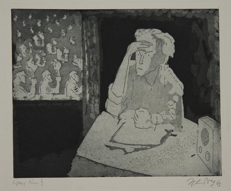 1988.12.36 front Plate 36, Herbert Sandberg series, Der Weg: man reacting angrily to a Nazi parade