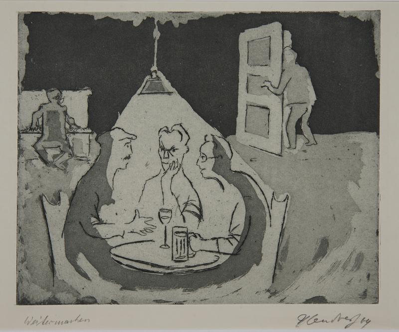 1988.12.37 front Plate 37, Herbert Sandberg series, Der Weg: friends meeting in a social hall