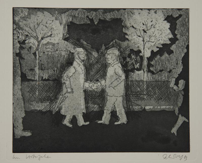 1988.12.38 front Plate 38, Herbert Sandberg series, Der Weg: 2 men exchanging a note in a park at night