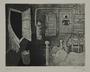 Plate 39, Herbert Sandberg series, Der Weg: an empty room with an open window, police at the door