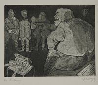 1988.12.40 front Plate 40, Herbert Sandberg series, Der Weg: a young man being interrogated by Nazi Stormtroopers  Click to enlarge