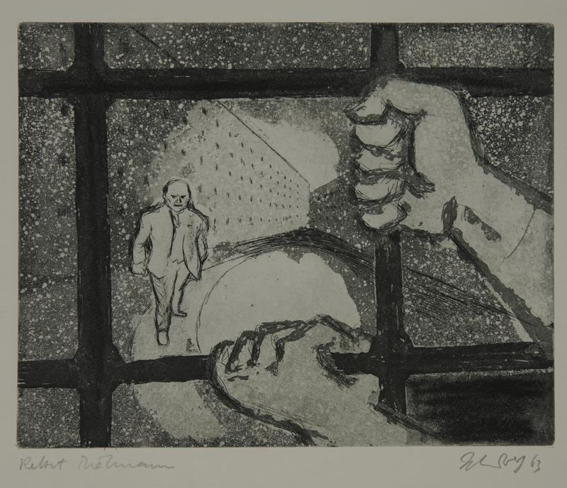 1988.12.41 front Plate 41, Herbert Sandberg series, Der Weg: view of a man through prison bars
