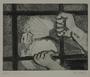 Plate 41, Herbert Sandberg series, Der Weg: view of a man through prison bars