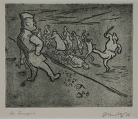 1988.12.43 front Plate 43, Herbert Sandberg series, Der Weg: men being brutally force marched by guards  Click to enlarge