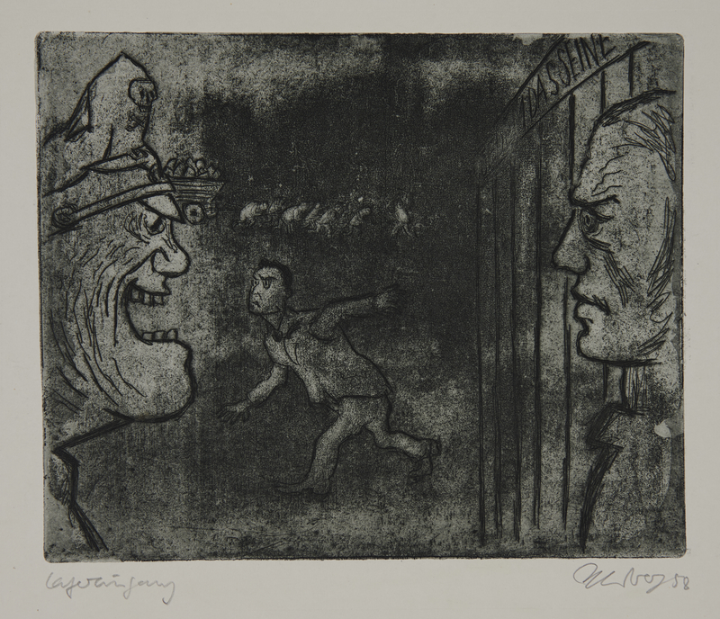 1988.12.44 front Plate 44, Herbert Sandberg series, Der Weg: closeup of a guard yelling at a new prisoner