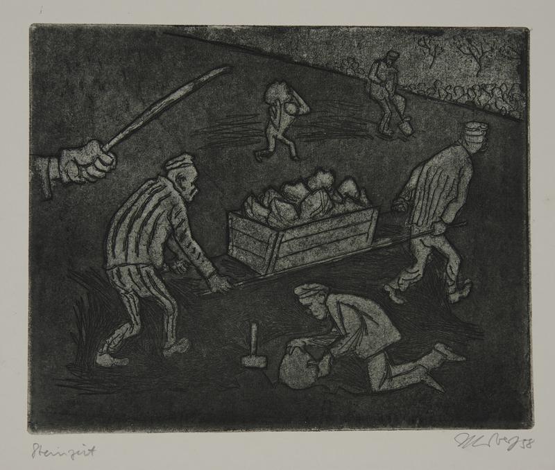 1988.12.45 front Plate 45, Herbert Sandberg series, Der Weg: uniformed inmates carrying rocks