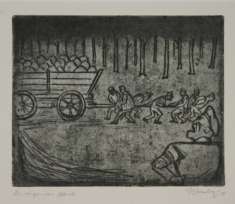 1988.12.46 front Plate 46, Herbert Sandberg series, Der Weg: uniformed prison inmates pull a wagonload of rocks