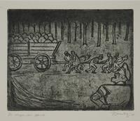 1988.12.46 front Plate 46, Herbert Sandberg series, Der Weg: uniformed prison inmates pull a wagonload of rocks  Click to enlarge