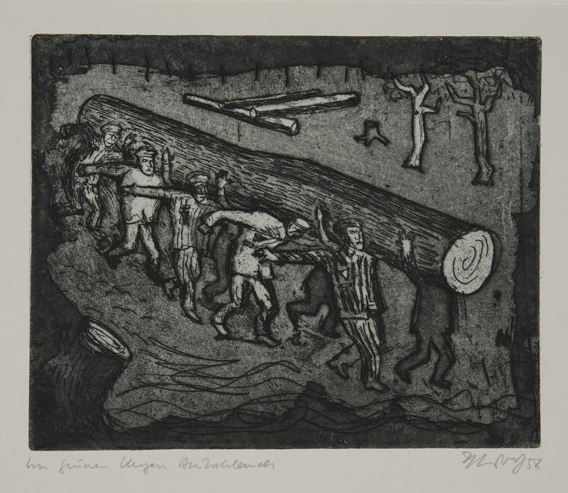 1988.12.47 front Plate 47, Herbert Sandberg series, Der Weg: uniformed inmates carry a huge log