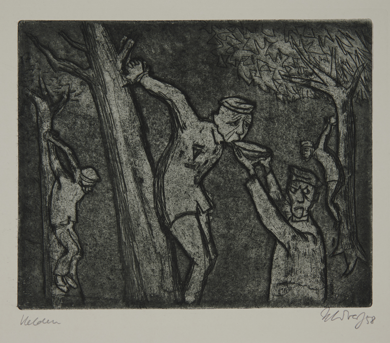 1988.12.48 front Plate 48, Herbert Sandberg series, Der Weg: inmates hung by their arms from trees