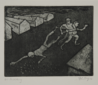 1988.12.49 front Plate 49, Herbert Sandberg series, Der Weg: two guards drag an emaciated prisoner  Click to enlarge