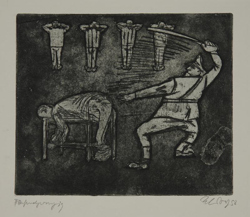 1988.12.50 front Plate 50, Herbert Sandberg series, Der Weg: guard beats a prisoner tied to a table
