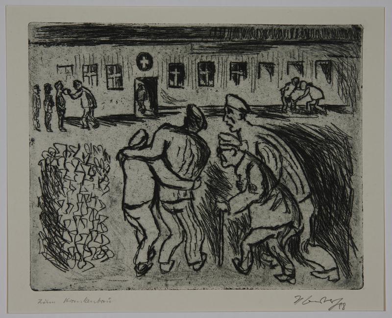 1988.12.51 front Plate 51, Herbert Sandberg series, Der Weg: infirm and elderly inmates walk to the hospital