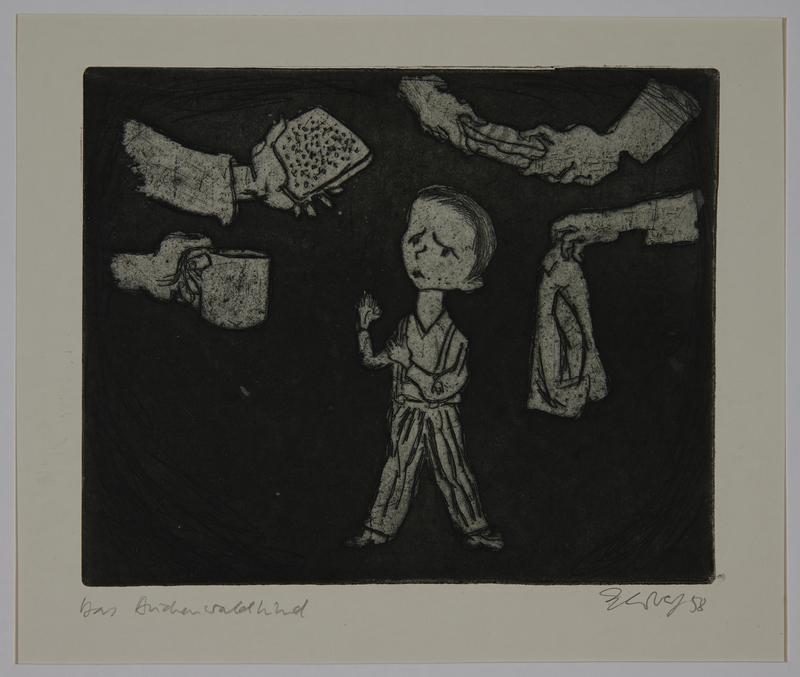 1988.12.53 front Plate 53, Herbert Sandberg series, Der Weg: young boy in prison uniform with helping hands