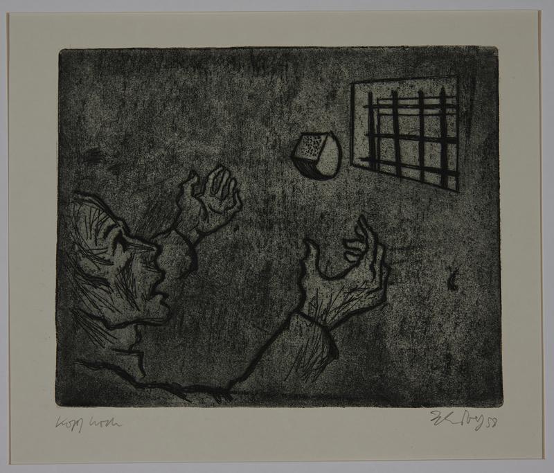 1988.12.54 front Plate 54, Herbert Sandberg series, Der Weg: a prisoner catches bread tossed through his window
