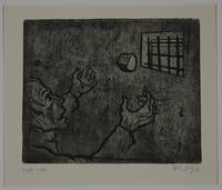 1988.12.54 front Plate 54, Herbert Sandberg series, Der Weg: a prisoner catches bread tossed through his window  Click to enlarge