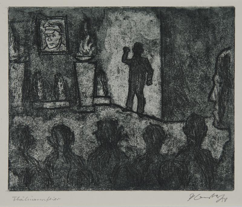 1988.12.55 front Plate 55, Herbert Sandberg series, Der Weg: memorial service for Ernst Thalmann (1886-1944)