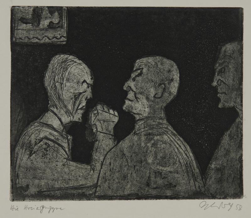 1988.12.57 front Plate 57, Herbert Sandberg series, Der Weg: three prisoners deep in conversation