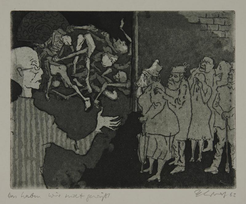 1988.12.61 front Plate 61, Herbert Sandberg series, Der Weg: local Germans made to view inmate corpses