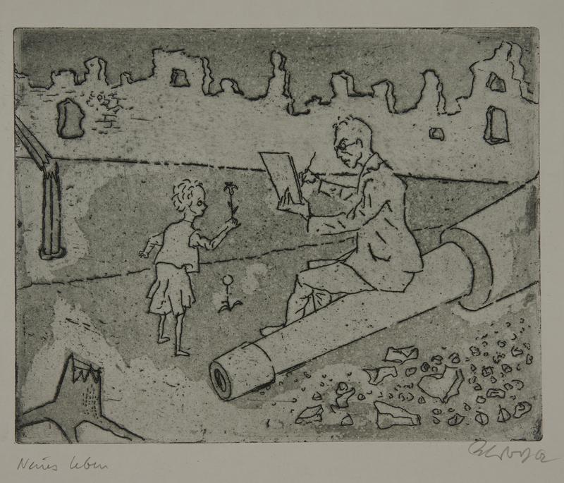 1988.12.64 front Plate 64, Herbert Sandberg series, Der Weg: girl offers a flower to a man sketching among the rubble