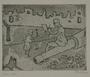 Plate 64, Herbert Sandberg series, Der Weg: girl offers a flower to a man sketching among the rubble