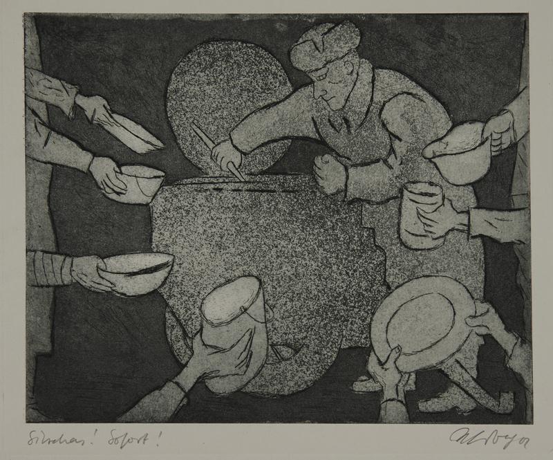 1988.12.65 front Plate 65, Herbert Sandberg series, Der Weg: communal soup pot amid empty dishes