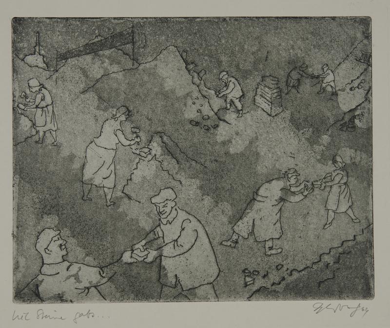 1988.12.66 front Plate 66, Herbert Sandberg series, Der Weg: men and women clearing rubble