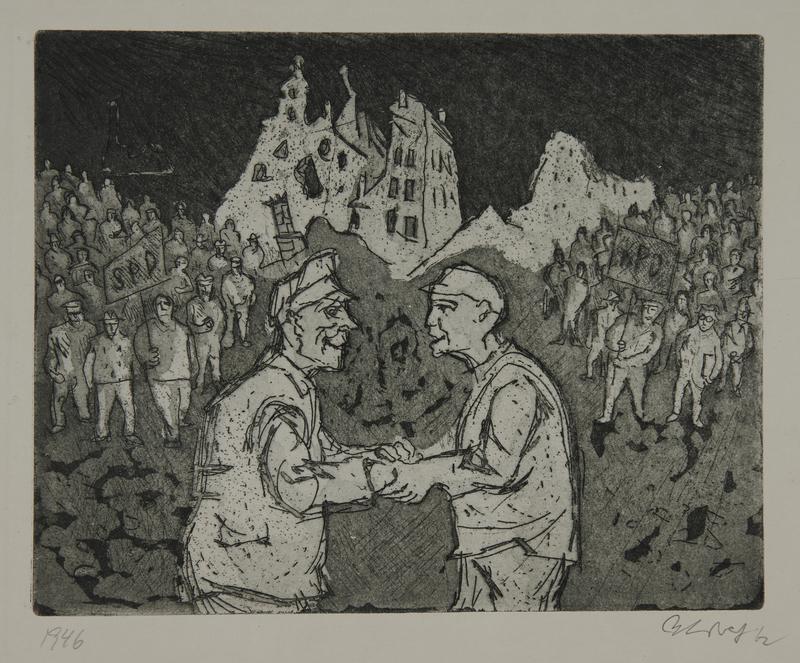 1988.12.69 front Plate 69, Herbert Sandberg series, Der Weg: 2 men agreeing to the merger of the KPD and SPD