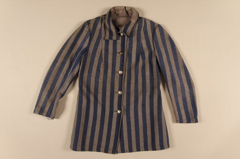 1988.132.1 front Concentration camp uniform jacket worn by a Polish Jewish inmate