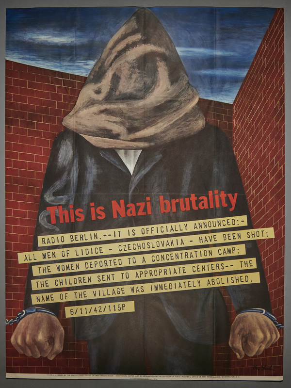 2001.337.2 front Ben Shahn poster with an image of a hooded man protesting the Nazi destruction of Lidice