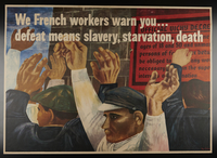2001.337.3 front Ben Shahn poster with an image of men with their arms raised in surrender  Click to enlarge
