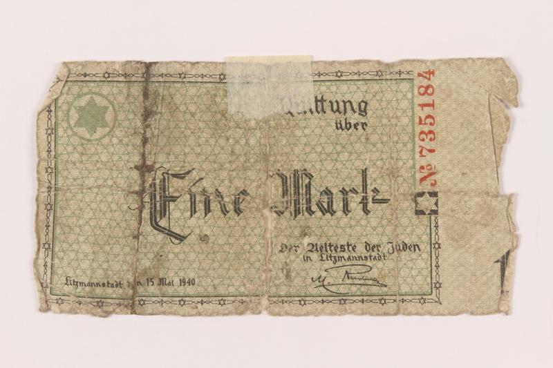 1999.296.1 front Łódź (Litzmannstadt) ghetto scrip, 1 mark note