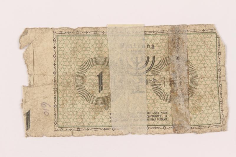 1999.296.1 back Łódź (Litzmannstadt) ghetto scrip, 1 mark note