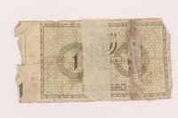 1999.296.1 back Łódź (Litzmannstadt) ghetto scrip, 1 mark note  Click to enlarge