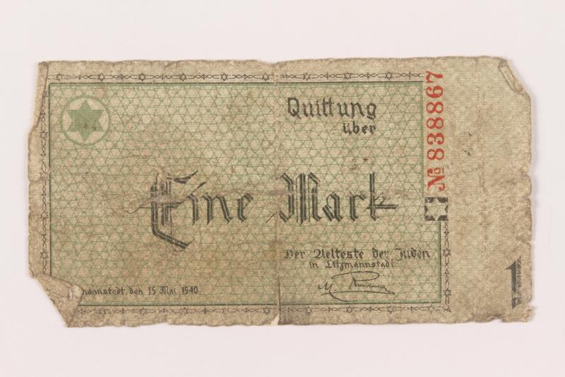 1999.296.2 front Łódź (Litzmannstadt) ghetto scrip, 1 mark note