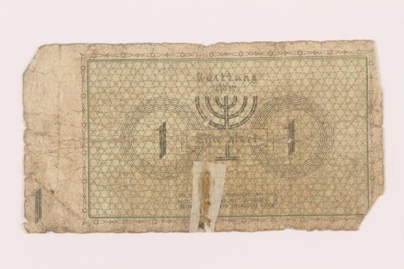 1999.296.2 back Łódź (Litzmannstadt) ghetto scrip, 1 mark note