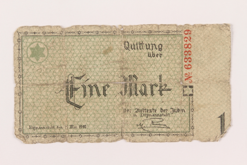 1999.296.3 front Lodz (Litzmannstadt) ghetto scrip, 1 mark note