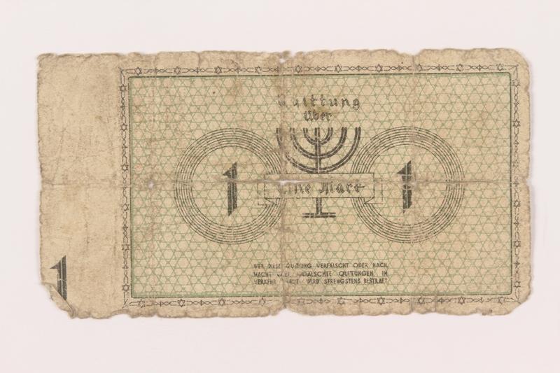 1999.296.3 back Lodz (Litzmannstadt) ghetto scrip, 1 mark note