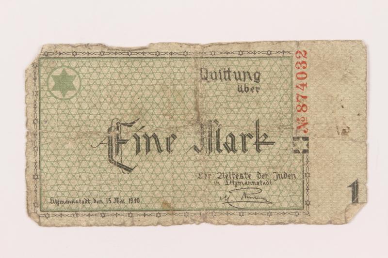 1999.296.4 front Łódź (Litzmannstadt) ghetto scrip, 1 mark note