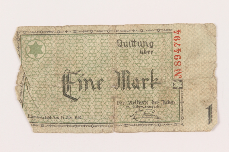 1999.296.6 front Łódź (Litzmannstadt) ghetto scrip, 1 mark note