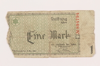 1999.296.6 front Łódź (Litzmannstadt) ghetto scrip, 1 mark note  Click to enlarge